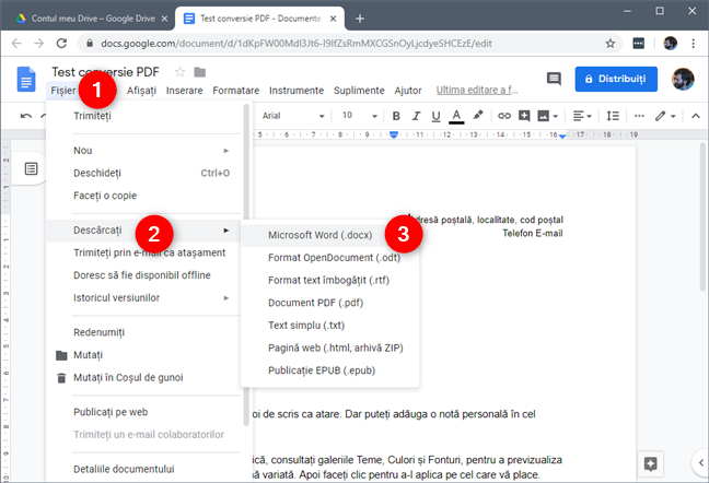 Documentul editabil din Google Drive poate fi descărcat ca document Word
