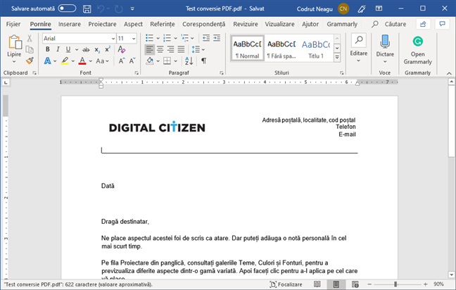 Un fișier PDF care a fost convertit într-un document Word editabil