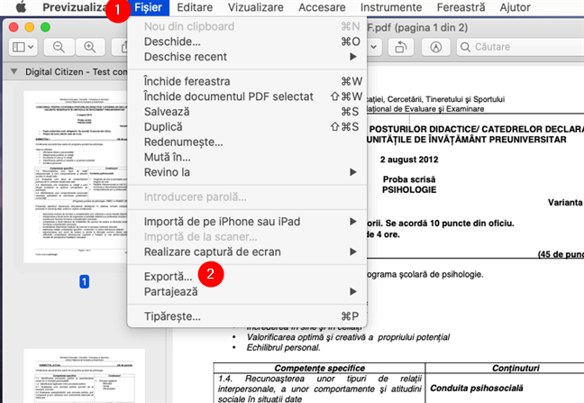 Deschiderea PDF-ului în Previzualizare pe un Mac și selectarea opțiunii Exportă