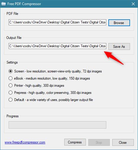 Selectarea locației și a numelui fișierului PDF mai mic