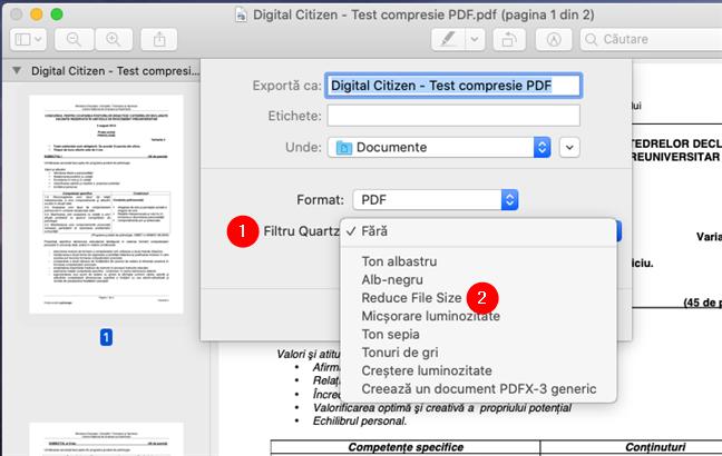 Selectarea opțiunii Reduce File Size pentru a face un PDF mai mic