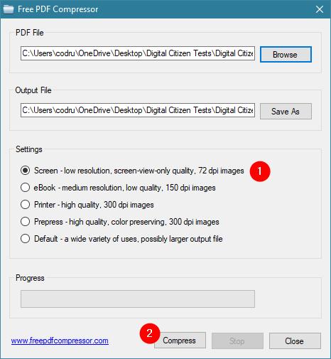 Selectarea nivelului de comprimare PDF