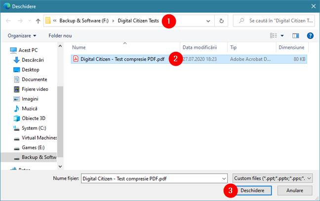 Selectarea PDF-ului de comprimat