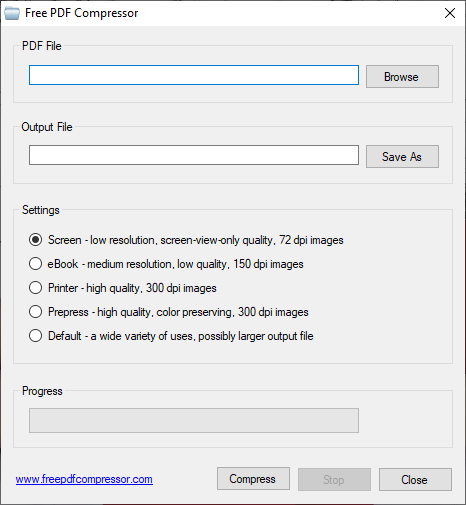 Aplicația Free PDF Compressor