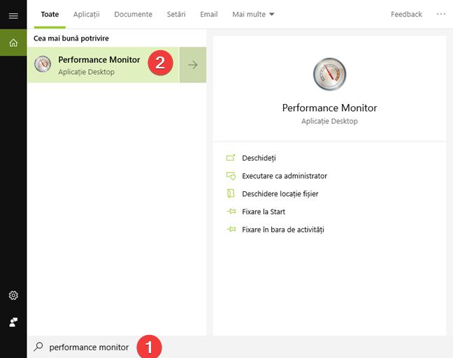 Caută Performance Monitor (Monitorizor de performanță) în Windows 10