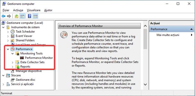 Folosește Performance Monitor din Gestionare computer