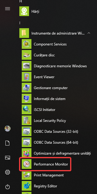 Performance Monitor în Meniul Start din Windows 10