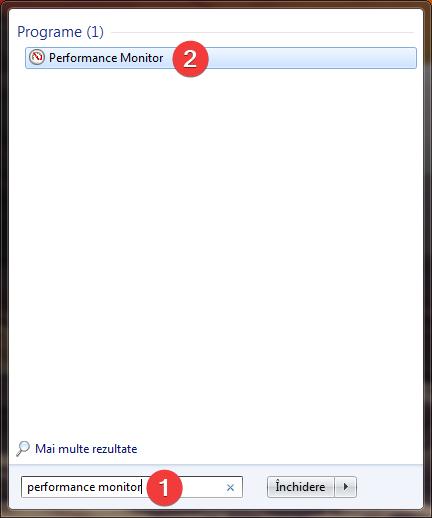 Caută Performance Monitor în Windows 7