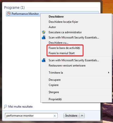 Fixare la bara de activități și Fixare la meniul Start în Windows 7