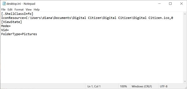 Poți găsi calea spre pictograma folderului în fișierul desktop.ini