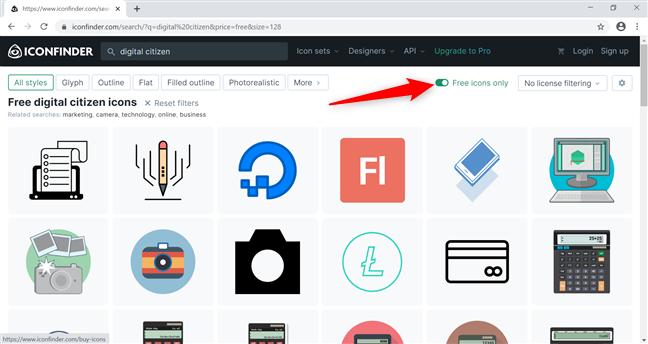 Folosește Iconfinder pentru a obține pictograme noi