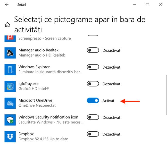 Activează comutatorul din dreptul OneDrive pentru a-i afișa pictograma în bara ta de activități