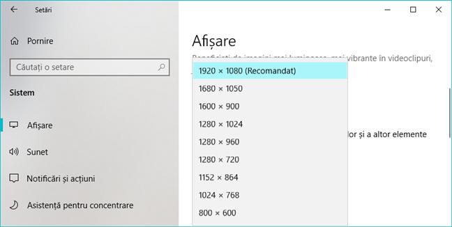 Opțiunile de rezoluție pentru ecran disponibile în Setările din Windows 10
