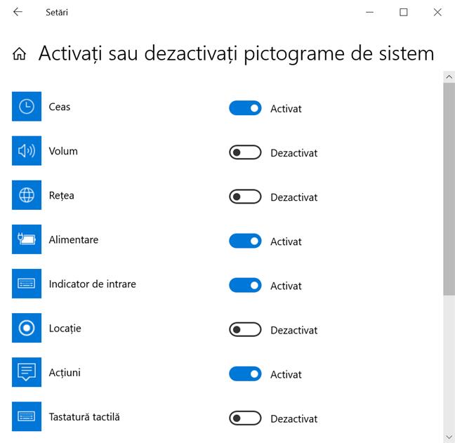 Dezactivează pictogramele de sistem pe care vrei să le elimini din Zona de notificare