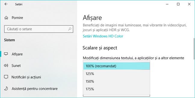 Opțiunile de scalare disponibile în Setările din Windows 10