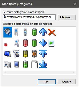 Pictograme stocate în fișierul wpdshext.dll