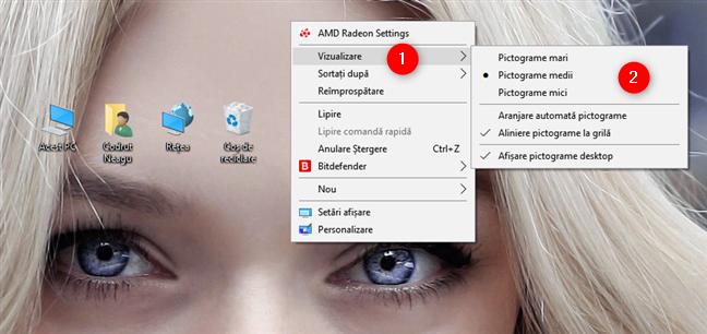 Opțiunile pentru dimensiunile pictogramelor din Windows 10