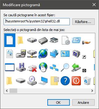 Pictograme stocate în fișierul shell32.dll