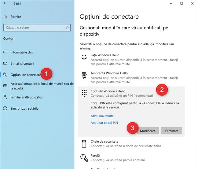 Cum schimbi codul PIN în Windows 10