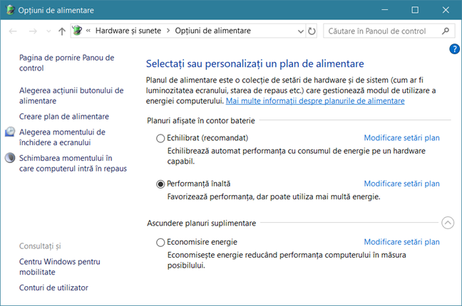 Windows, planuri alimentare