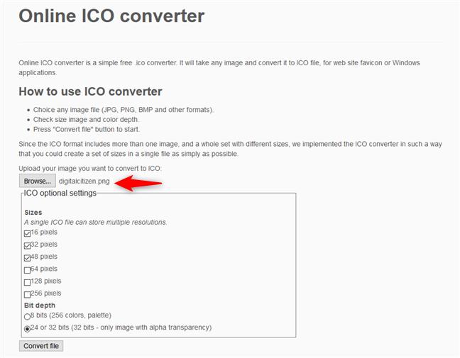 Online ICO converter - Selectarea rezoluțiilor ce vor fi utilizate pentru fișierul ICO file
