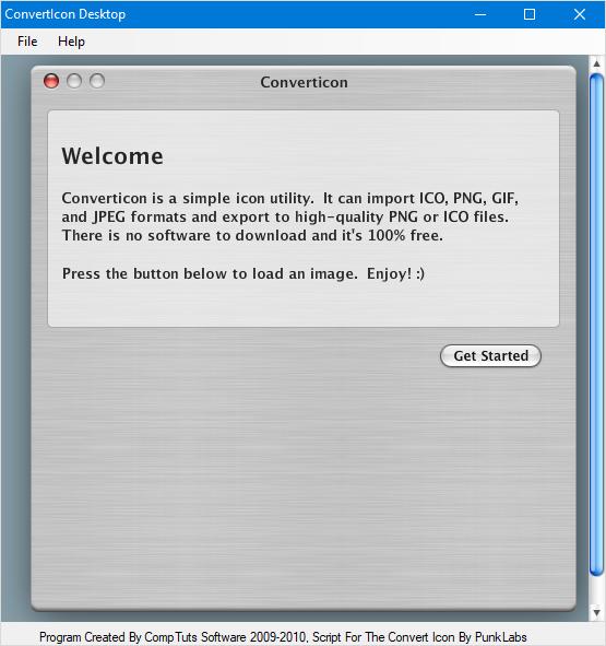 Pornirea aplicației ConvertIcon Desktop