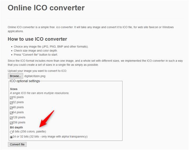 Online ICO converter - Selectarea adâncimii de bit pentru fișierul ICO