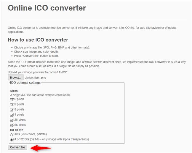 Online ICO converter - Conversia unei imagini într-o pictogramă