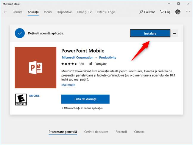 Instalarea aplicației PowerPoint Mobile din Magazinul Microsoft