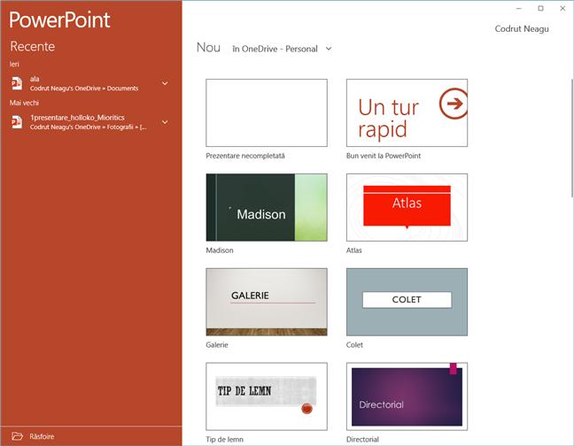 Aplicația PowerPoint Mobile pentru Windows 10