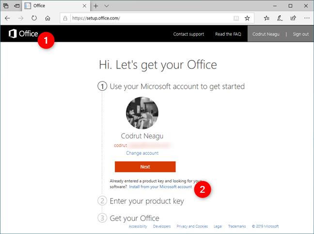 Instalare din contul Microsoft