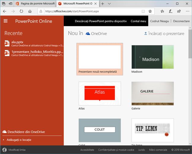 Cum arată PowerPoint Online