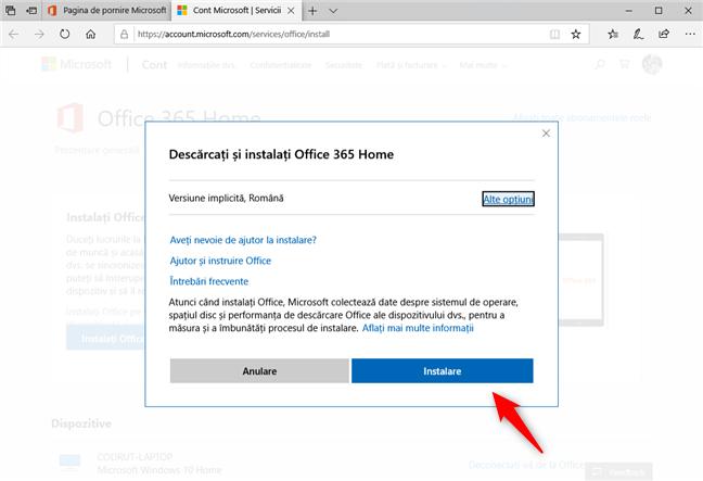 Alegerea versiunii și limbii pentru Office 365