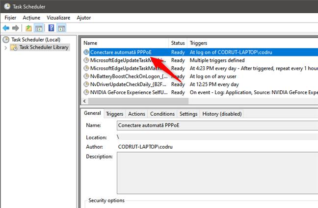 Conectarea automată prin PPPoE este afișată în biblioteca Task Scheduler