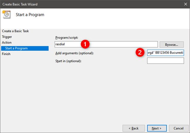 Alegerea de a executa aplicația rasdial folosind numele și datele conexiunii PPPoE