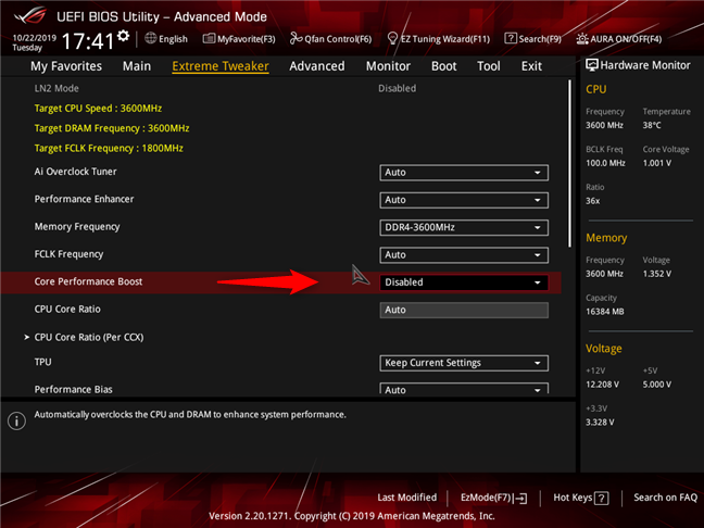 AMD Ryzen 7 3700X: Precision Boost (Core Performance Boost) dezactivat