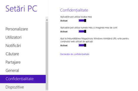 confidențialitate, securitatea datelor, Windows 8.1