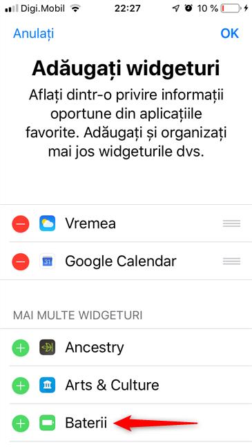 Adăugați widgeturi