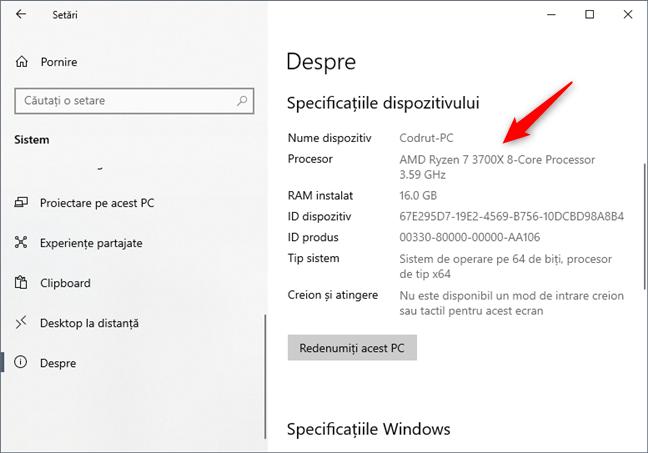 Află ce procesor ai în calculator, folosind aplicația Setări din Windows 10