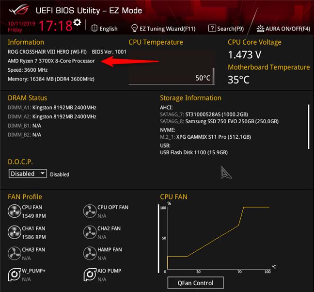 Află ce procesor ai în calculator, în (UEFI) BIOS