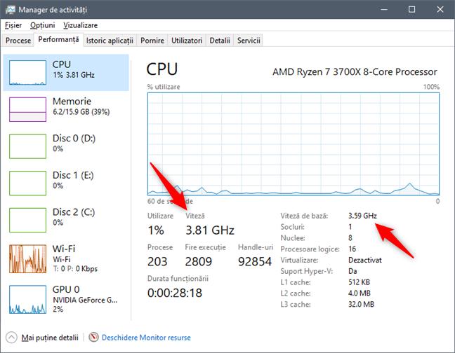 Vezi care este viteza de bază și viteza curentă a procesorului, folosind Managerul de activități