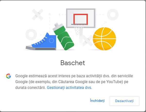 Dezactivează interese din profilul de reclame Google