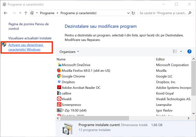 Apasă pe Activare sau dezactivare caracteristici Windows