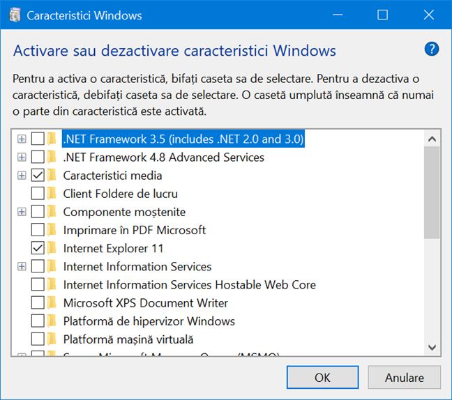 Caracteristici Windows listează toate componentele disponibile