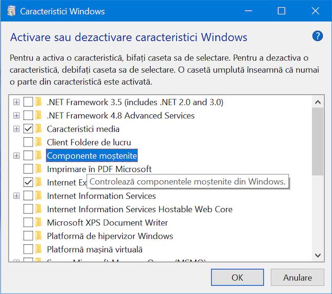 O scurtă descriere e disponibilă pentru fiecare caracteristică Windows
