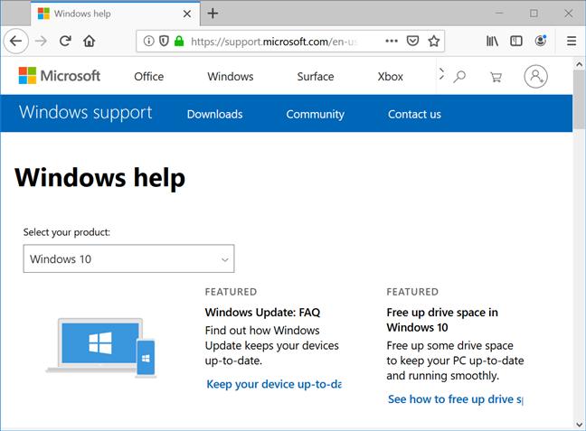Pagina Windows 10 oferă ponturi și informații despre actualizări
