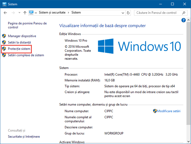 Windows, Protectie Sistem, System Restore