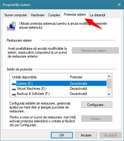 Fila Protecție sistem din fereastra Proprietăți sistem
