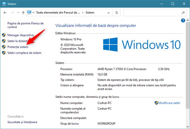 Linkul Protecție sistem din fereastra Sistem
