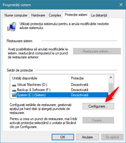 Butonul Configurare
